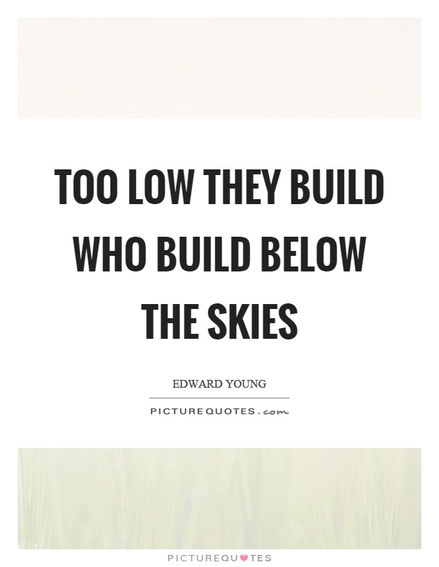 Too low they build who build below the skies Picture Quote #1