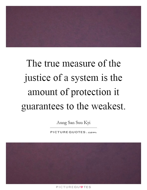 The true measure of the justice of a system is the amount of protection it guarantees to the weakest Picture Quote #1