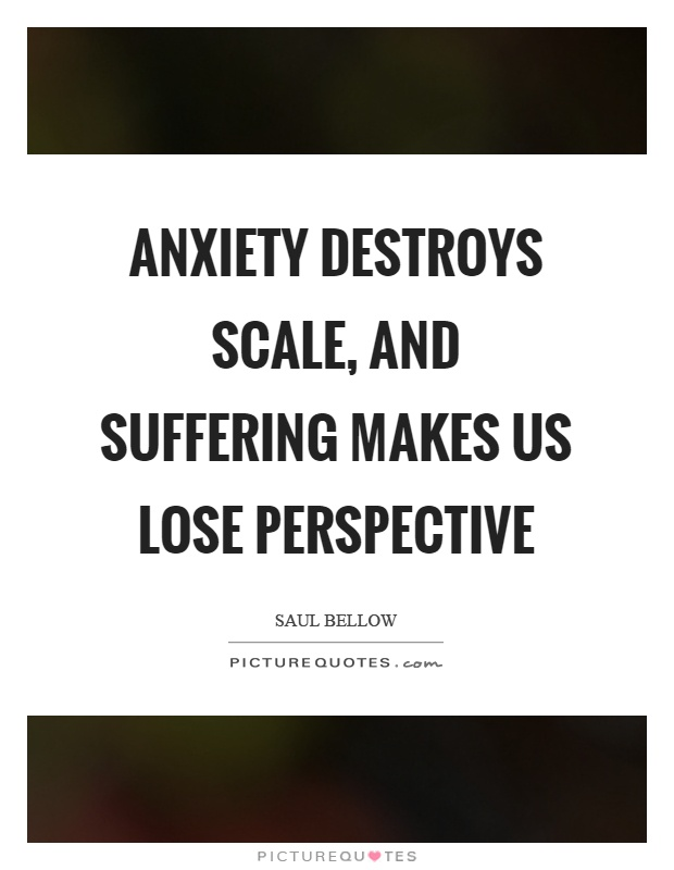 Anxiety destroys scale, and suffering makes us lose perspective Picture Quote #1