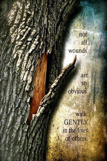 Not all wounds are so obvious. Walk gently in the lives of others Picture Quote #1