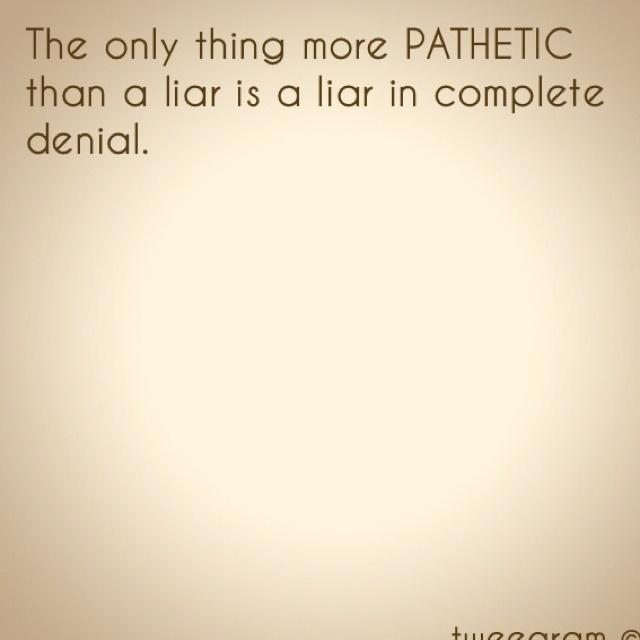 The only thing more pathetic than a liar is a liar in complete denial Picture Quote #1