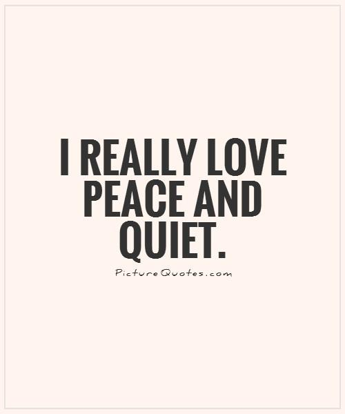 I Really Love Peace And Quiet