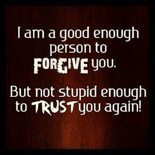 I am a good enough person to forgive you. But not stupid enough to trust you again Picture Quote #1