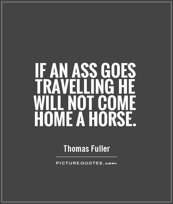 If an ass goes travelling he will not come home a horse Picture Quote #1
