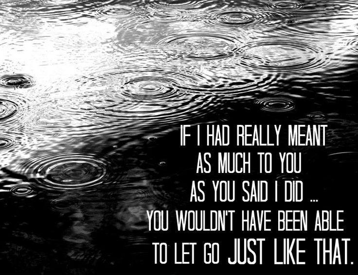 If I had really meant as much to you as you said I did you wouldn't have been able to let go just like that Picture Quote #1