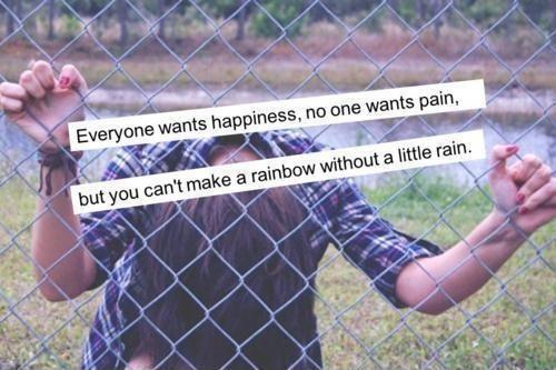 Everyone want happiness, no one wants pain, but you can't make a rainbow without a little rain Picture Quote #1