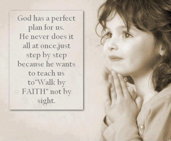 God has a perfect plan for us. He never does it all at once, just step by step because he wants to teach us to Walk By Faith, not by sight Picture Quote #1