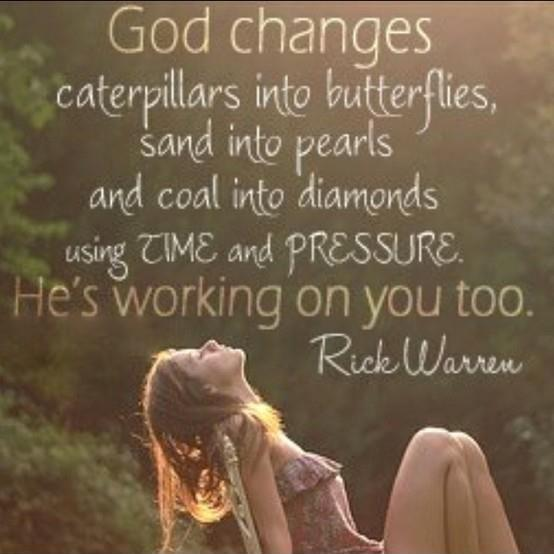 God changes caterpillars into butterflies, sand into pearls and coal into diamonds using time and pressure. He's working on you too Picture Quote #1