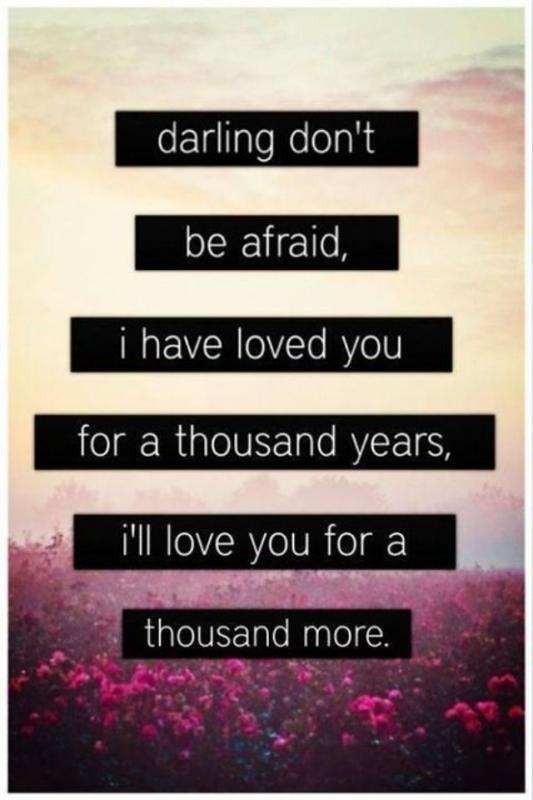 Darling don't be afraid. I have loved you for a thousand years, i'll love you for a thousand more Picture Quote #1