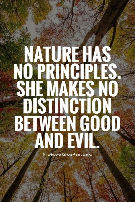 Nature has no principles. She makes no distinction between good and evil Picture Quote #1
