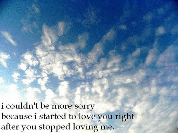 I couldn't be more sorry because I started to love you right after you stopped loving me Picture Quote #1