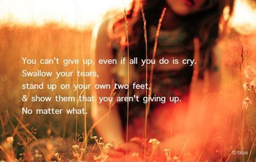 You can't give up, even if all you do is cry. Swallow your tears, stand up on your own two feet, and show them that you aren't giving up. No matter what Picture Quote #1