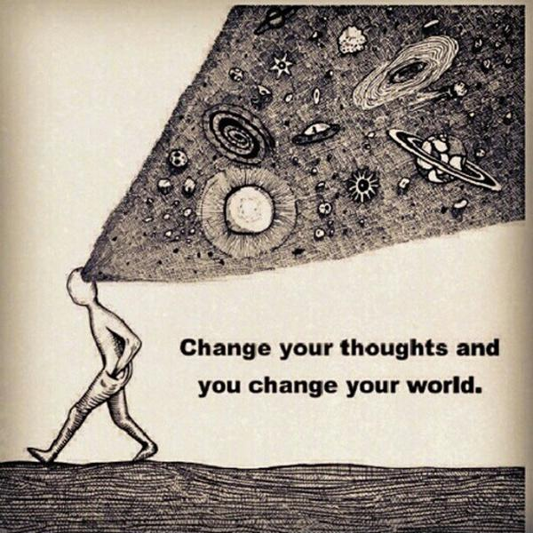 Change your thoughts and you change the world Picture Quote #2