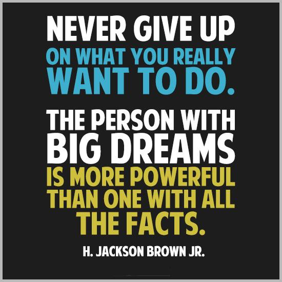 Never give up on what you really want to do. The person with big dreams is more powerful than one with all the facts Picture Quote #1