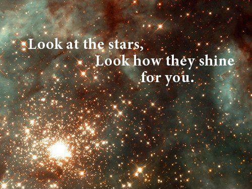 Look at the stars, look how they shine for you Picture Quote #1