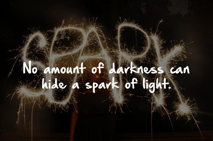 No amount of darkness can hide a spark of light Picture Quote #1