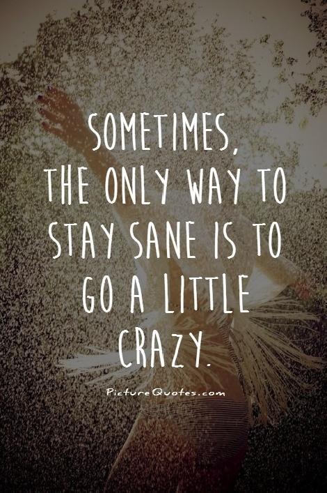 Sometimes, the only way to stay sane is to go a little crazy Picture Quote #1