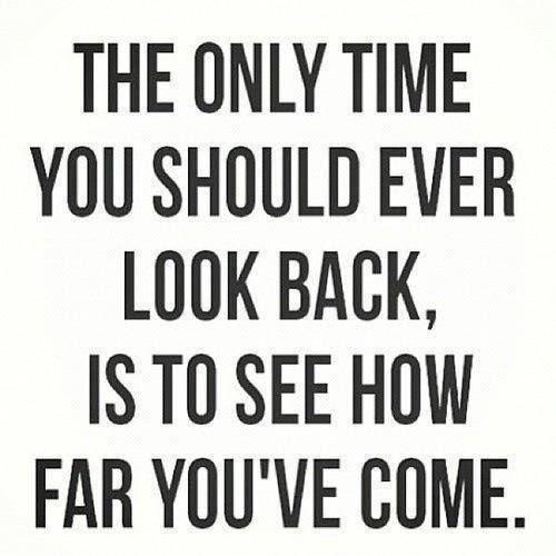 The only time you should ever look back is to see how far you've come Picture Quote #1