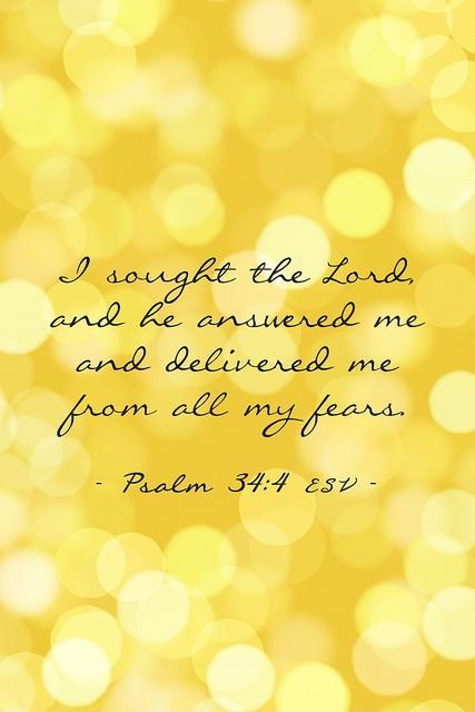I sought the lord, and he answered me and delivered me from all me fears Picture Quote #1