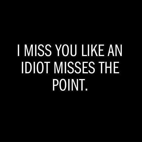 I miss you like an idiot misses the point Picture Quote #1