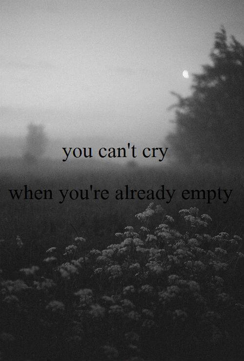 You can't cry when you're already empty Picture Quote #1