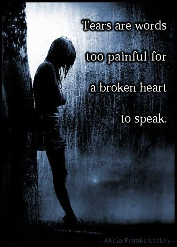 Tears are words too painful for a broken heart to speak Picture Quote #1