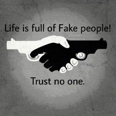 Life is full of fake people. Trust no one Picture Quote #1
