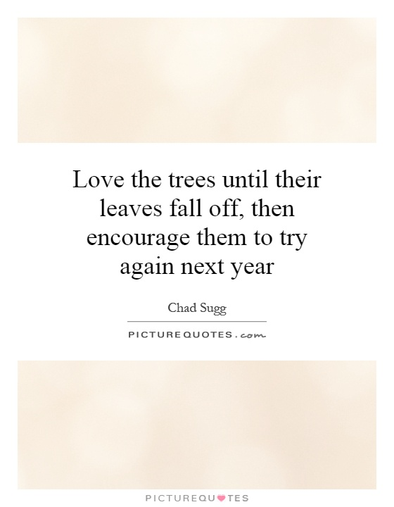 Love the trees until their leaves fall off, then encourage them to try again next year Picture Quote #1