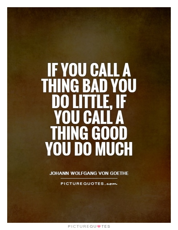 If you call a thing bad you do little, if you call a thing good you do much Picture Quote #1