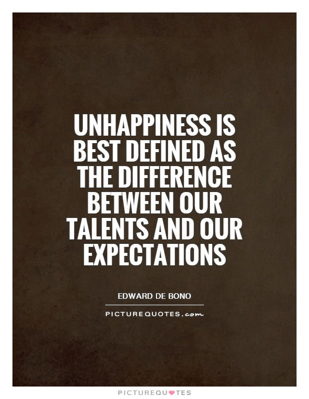 Unhappiness is best defined as the difference between our talents and our expectations Picture Quote #1