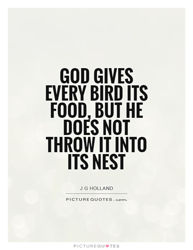 God gives every bird its food, but He does not throw it into its nest Picture Quote #1