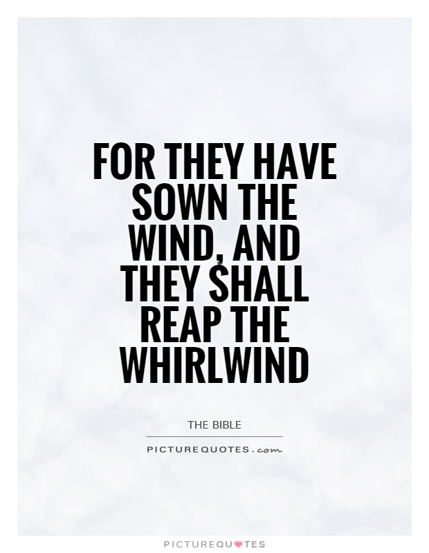 For they have sown the wind, and they shall reap the whirlwind Picture Quote #1