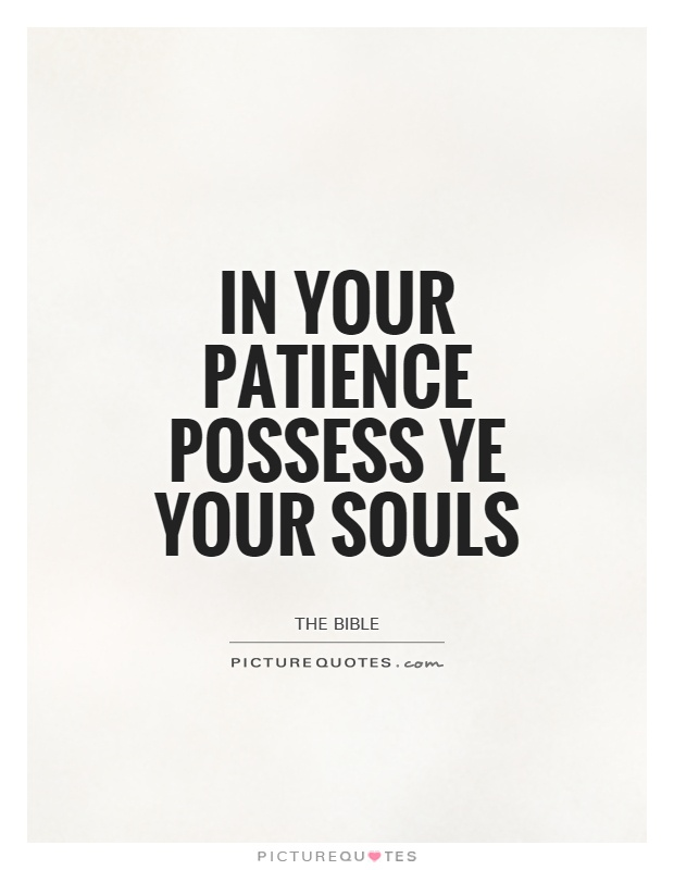 In your patience possess ye your souls Picture Quote #1