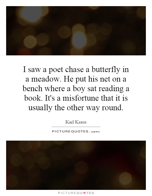 i saw a poet chase a butterfly in a meadow he put his net