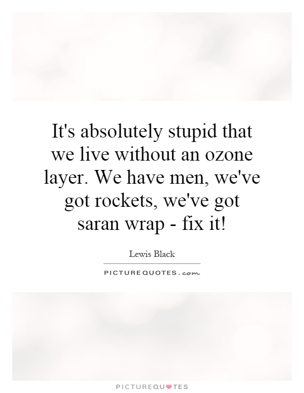 It's absolutely stupid that we live without an ozone layer. We have men, we've got rockets, we've got saran wrap - fix it! Picture Quote #1