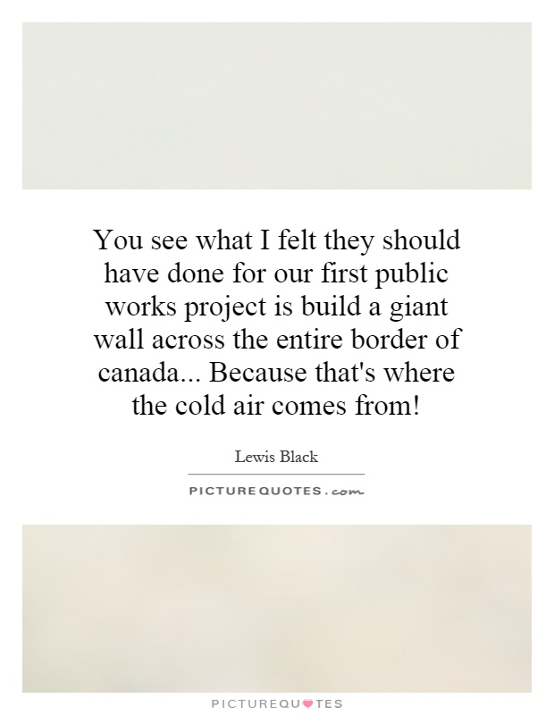 You see what I felt they should have done for our first public works project is build a giant wall across the entire border of canada... Because that's where the cold air comes from! Picture Quote #1