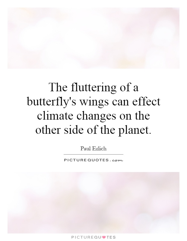 The fluttering of a butterfly's wings can effect climate changes on the other side of the planet Picture Quote #1