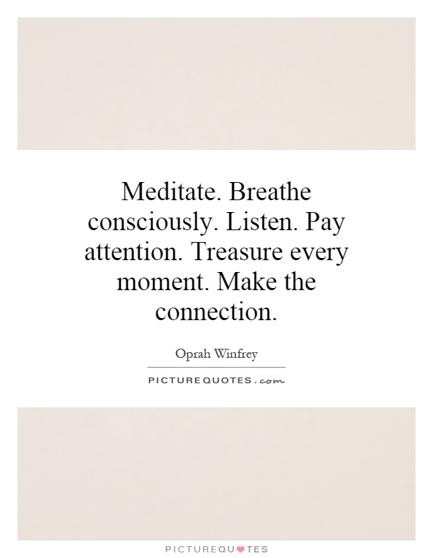 Meditate. Breathe consciously. Listen. Pay attention. Treasure every moment. Make the connection Picture Quote #1