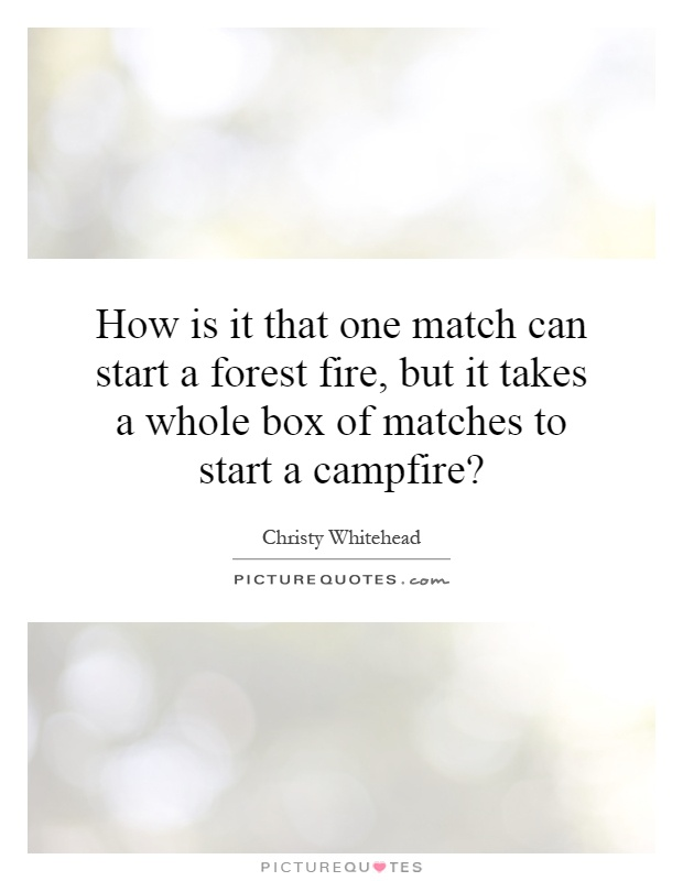 How is it that one match can start a forest fire, but it takes a whole box of matches to start a campfire? Picture Quote #1