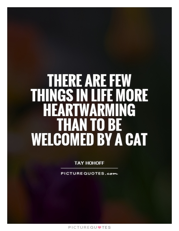 There are few things in life more heartwarming than to be welcomed by a cat Picture Quote #1