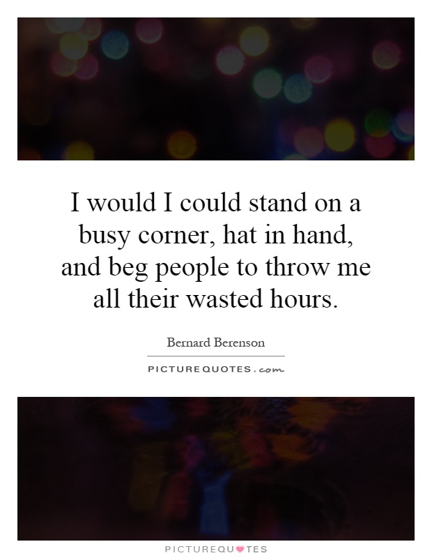 I would I could stand on a busy corner, hat in hand, and beg people to throw me all their wasted hours Picture Quote #1