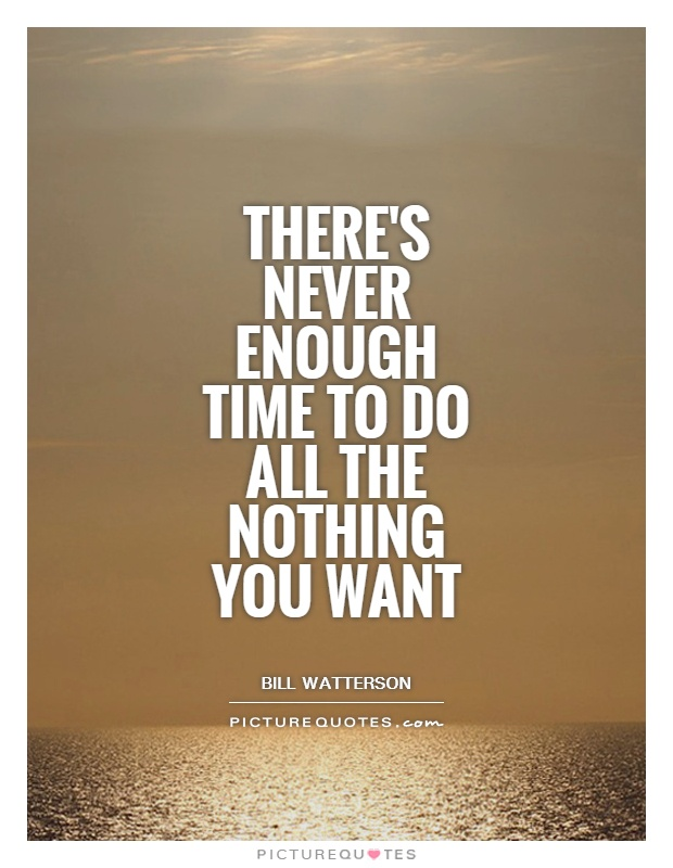 There's never enough time to do all the nothing you want Picture Quote #1