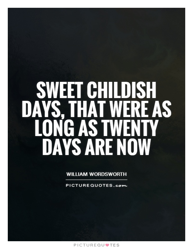 Sweet childish days, that were as long As twenty days are now Picture Quote #1