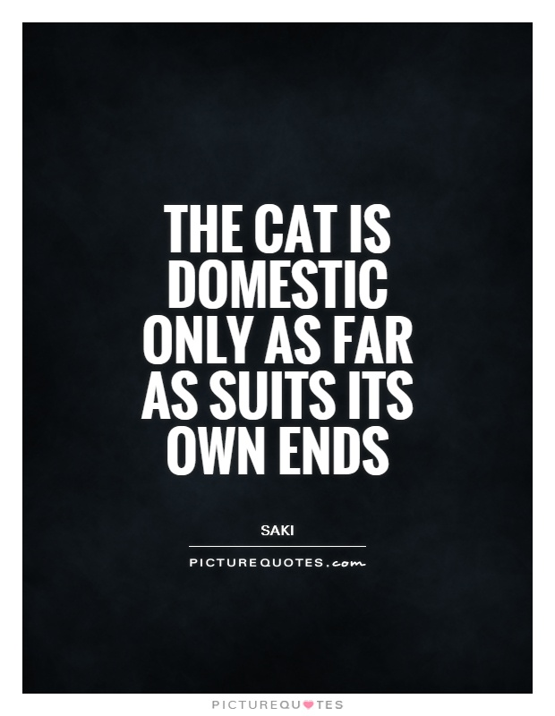 The cat is domestic only as far as suits its own ends Picture Quote #1