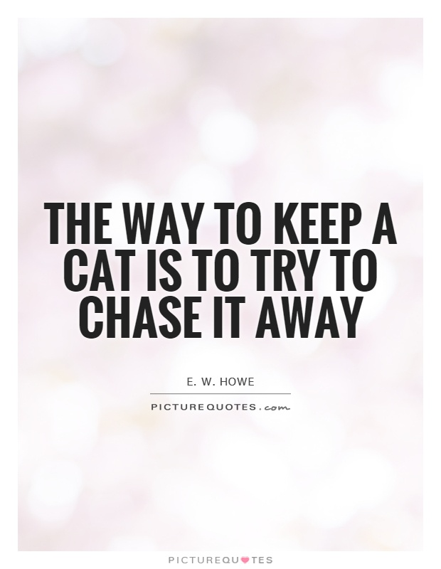 The way to keep a cat is to try to chase it away Picture Quote #1