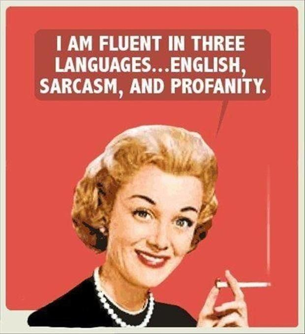 I am fluent in three languages... English, sarcasm and profanity Picture Quote #1