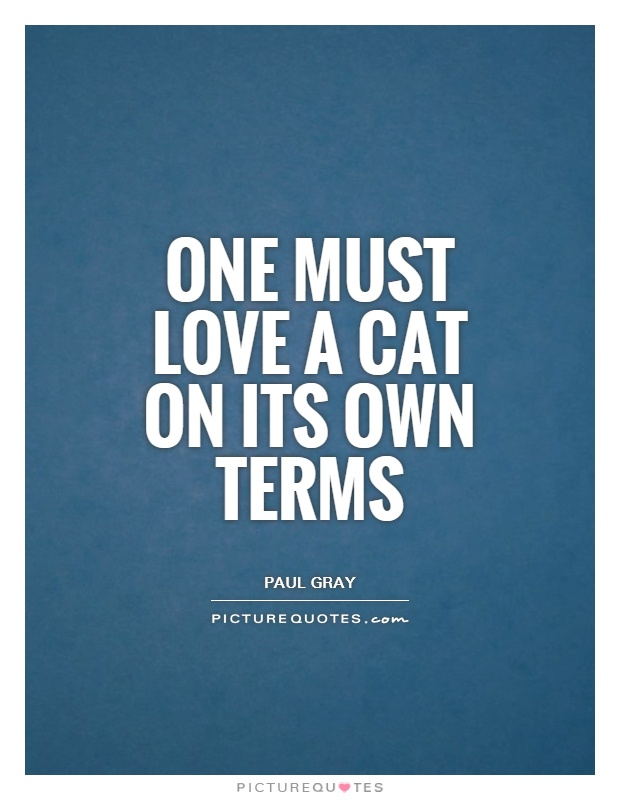 One must love a cat on its own terms Picture Quote #1