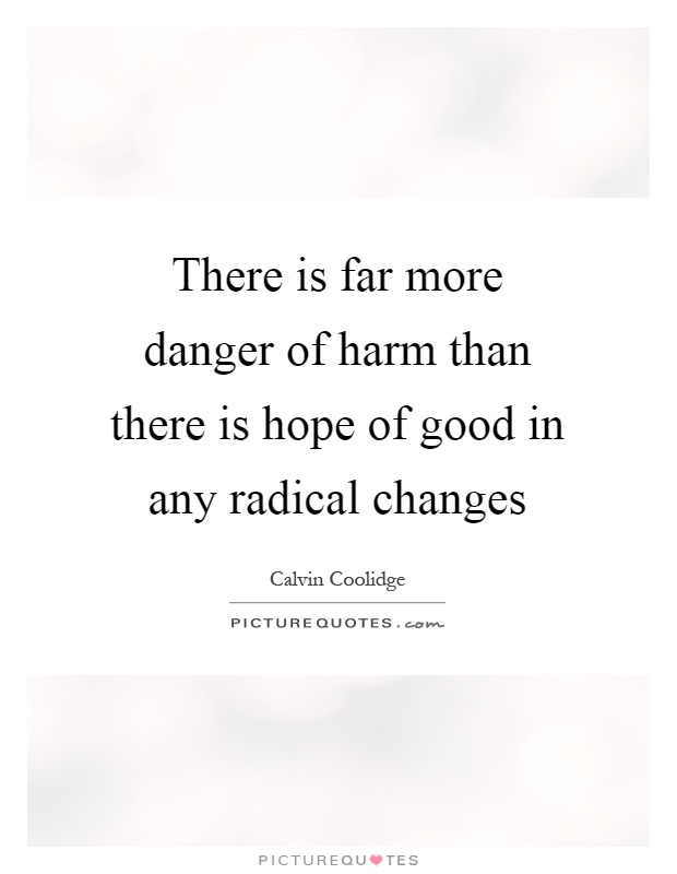 There is far more danger of harm than there is hope of good in any radical changes Picture Quote #1