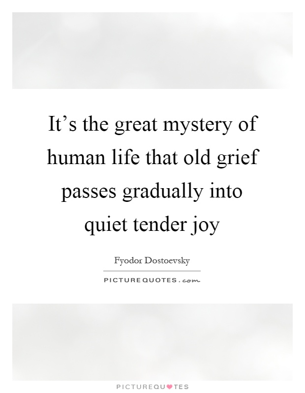 It's the great mystery of human life that old grief passes gradually into quiet tender joy Picture Quote #1