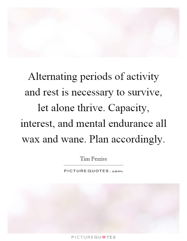 Alternating periods of activity and rest is necessary to survive, let alone thrive. Capacity, interest, and mental endurance all wax and wane. Plan accordingly Picture Quote #1